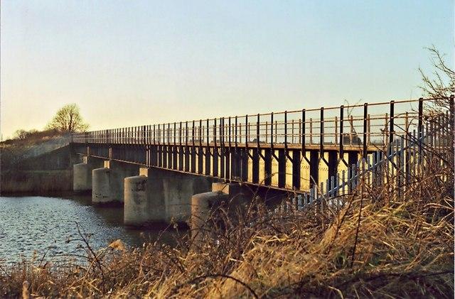Disused railway bridge, Magdalen, at sunset