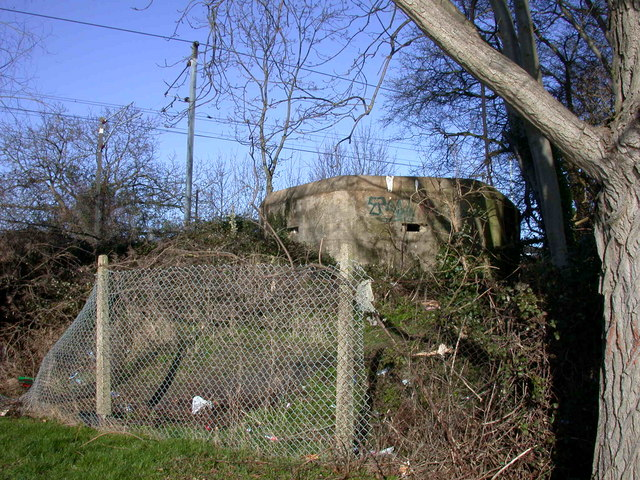 Pillbox by the Cam and the railway line