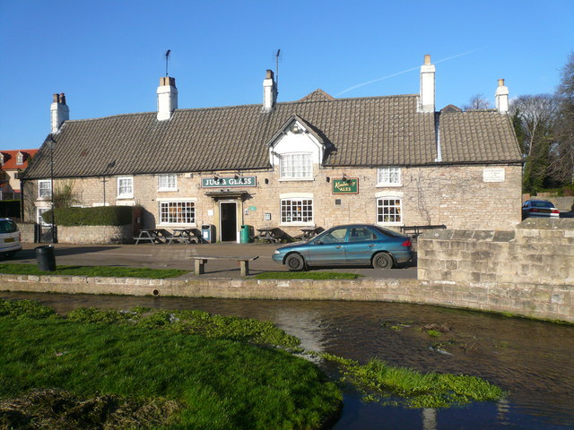 Nether Langwith -  Jug & Glass Public House and Stream