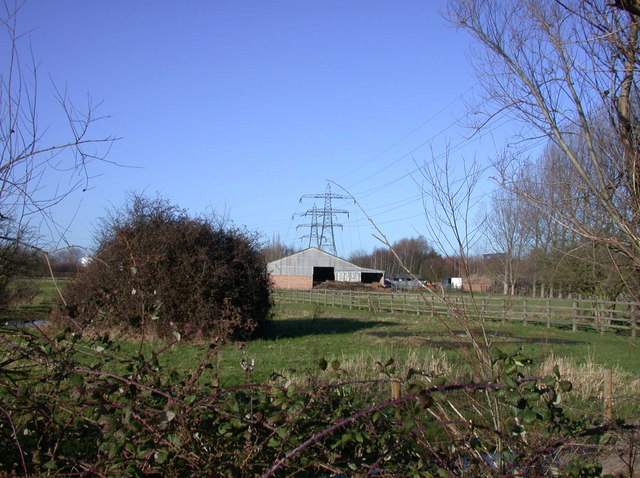 Farm and power lines by the A14