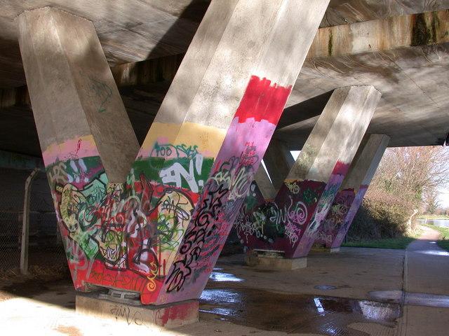 Graffiti under the A14 bridge