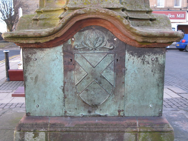 Coat of arms on the west side of the Temperley Memorial Fountain, Market Place