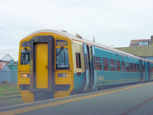 The 15.32 Birmingham New Street Arriva Wales train about to depart from Pwllheli Station