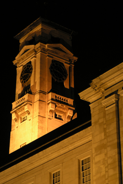 The Trent Building tower at night
