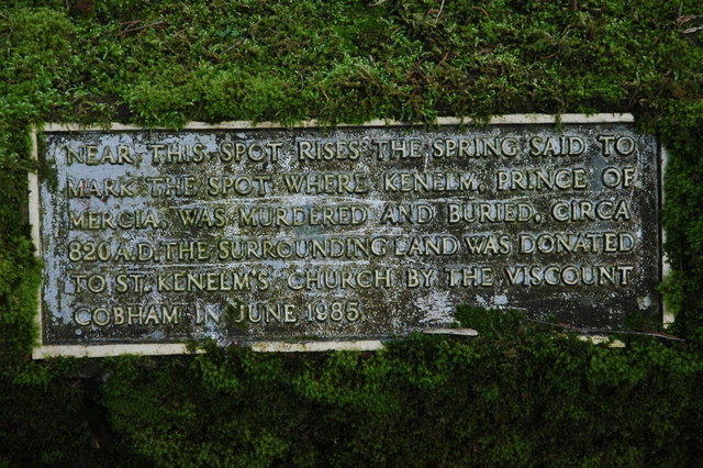 Plaque by St Kenelm's Spring