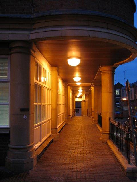 Walkway under Merchant House - evening