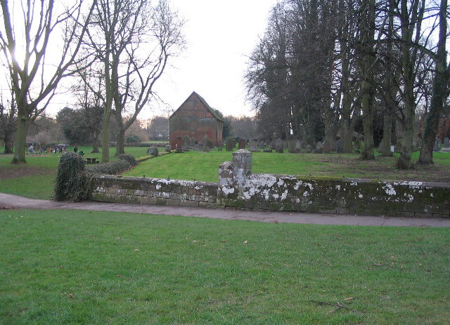 Barn and churchyard, Abbey Fields