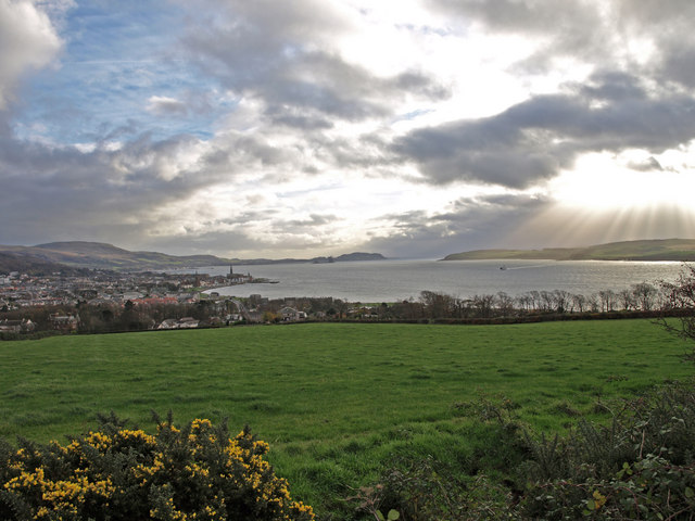 View over fields to Largs.