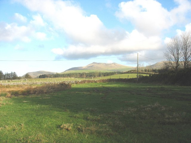 View across farmland towards the Glasfryn Forest and the Gyrn mountains beyond