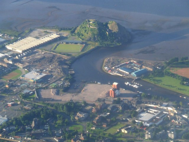 Dumbarton Rock from the air