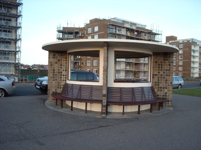 A circular shelter on the Promenade, Bexhill-0n-Sea