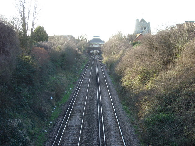 Approaching Bexhill  Railway Station from the east, Bexhill-on-Sea