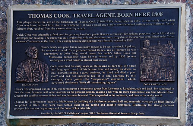 Plaque commemorating Thomas Cook's birthplace