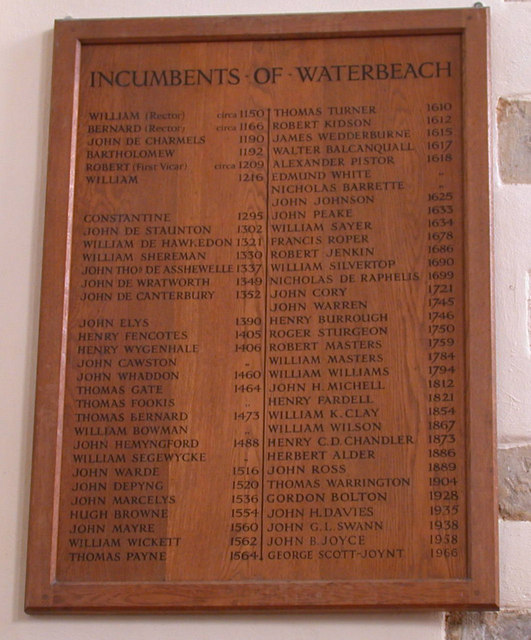 The Incumbents of Waterbeach