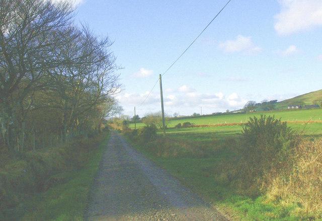View west along the Cae Cribyn farm road