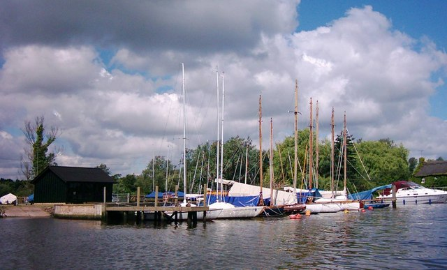 Wet Moorings and slipway, Coldham Hall Sailing Club