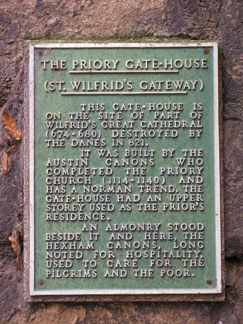 Plaque on St. Wilfrid's Gateway