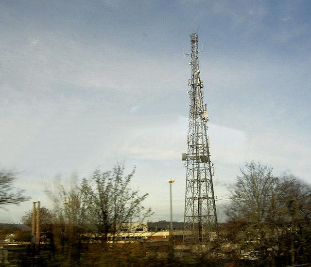 Telecoms mast adjacent to the railway line