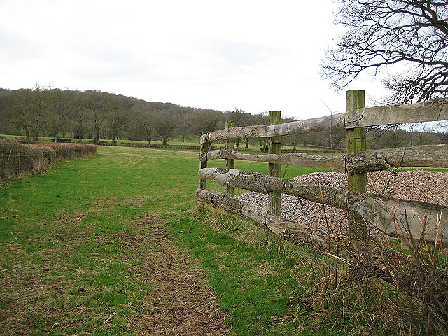 Entrance to field with rustic fence