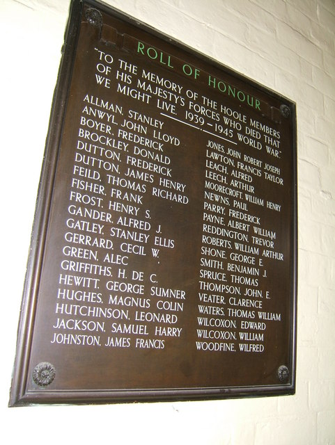 Roll of Honour, Hoole, Chester