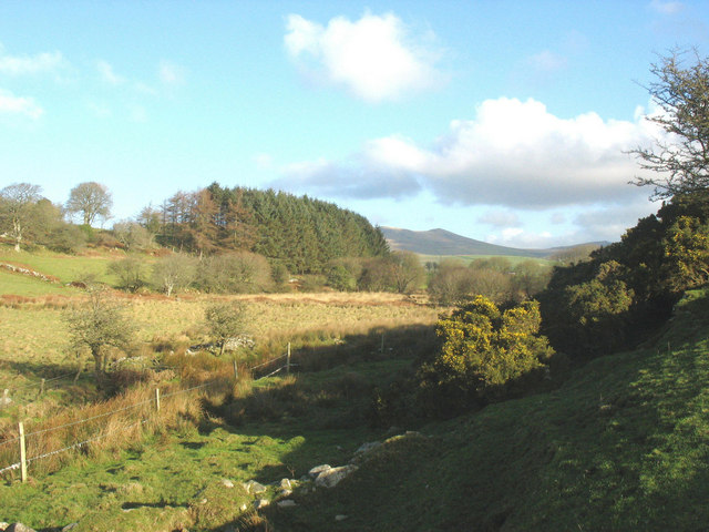 View up valley from the footbridge over Afon Erch