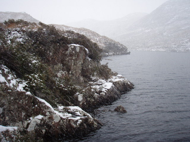 Snow flurry on Loch Kernsary
