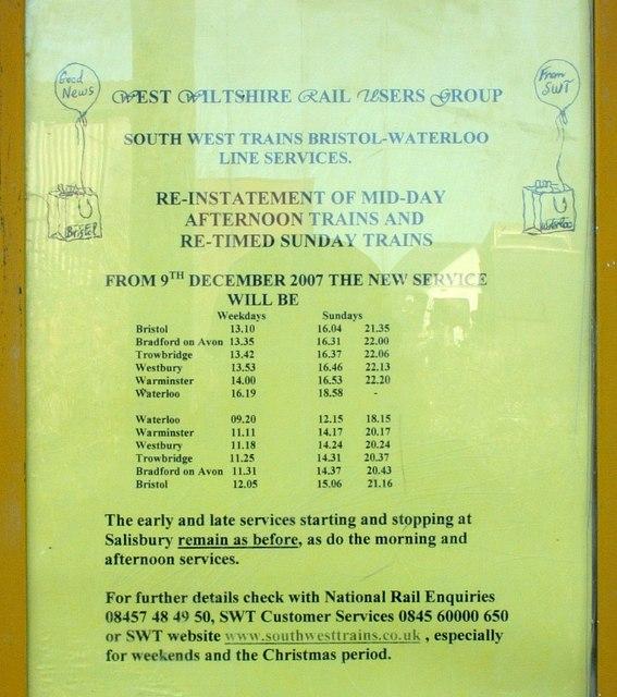2008 : Melksham Station railway Timetable