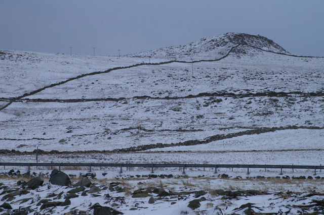 North slopes of Muckle Heog in the snow