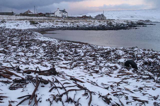Haroldswick beach in the snow