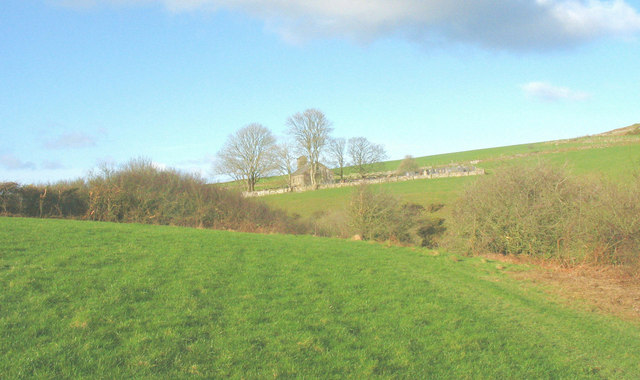 View across the Erch valley towards Carnguwch church