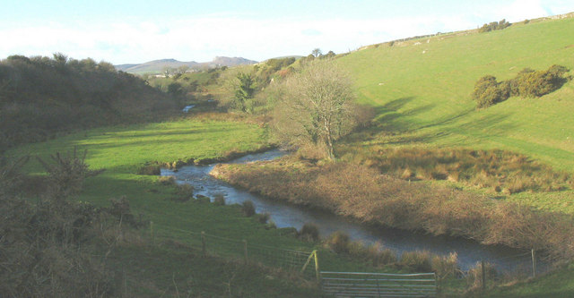 The Erch valley west of the foot bridge leading to Carnguwch church
