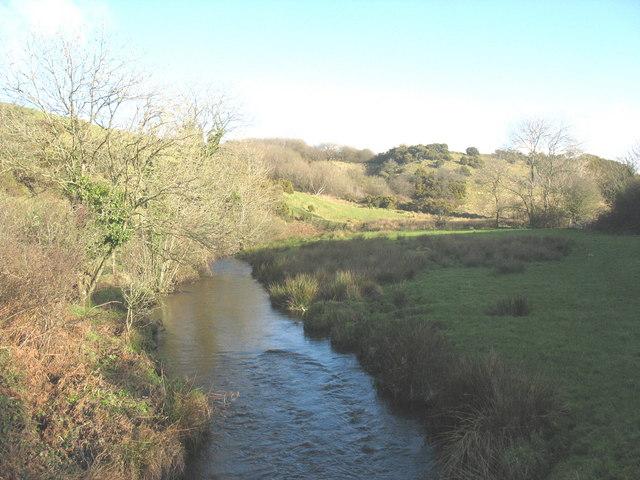 Afon Erch upstream of the Carnguwch church footbridge