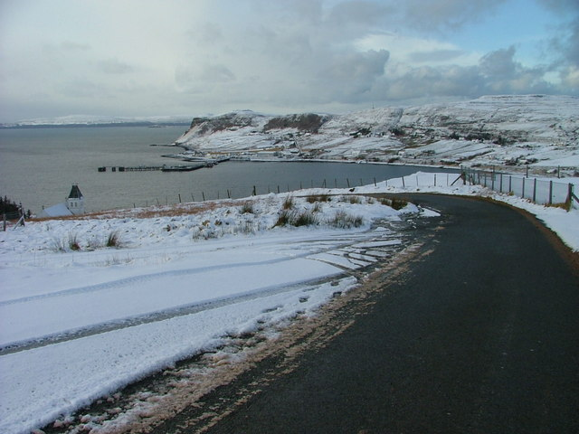 Uig Bay on a Snowy Day