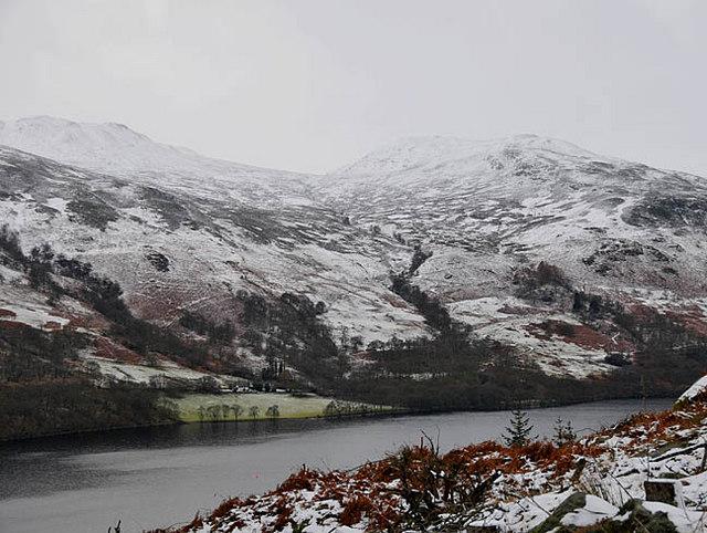 Wintery view across Loch Earn to Fin Glen