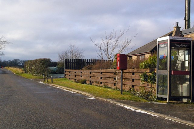 Post Box and Telephone Box at Logie Pert