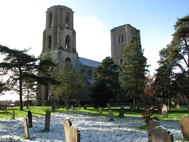 The twin towers of Wymondham Abbey