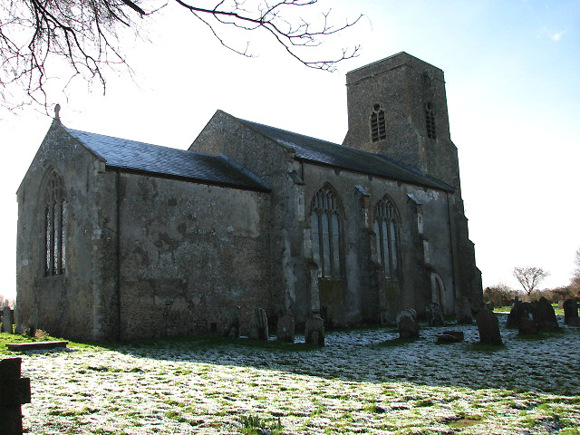 St Botolph's Church in Barford - the shady northern side