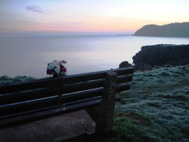 Clifftop path near Elberry Cove -Memorial Bench