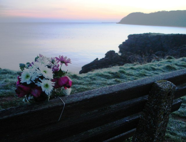 Clifftop path near Elberry Cove -Posy on Memorial Bench