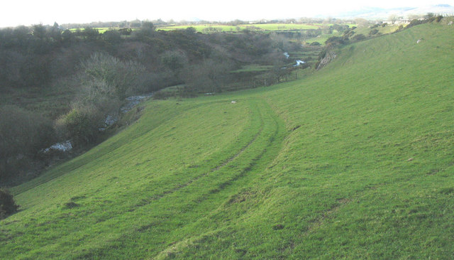 Green lane leading down to the Erch footbridge from Carnguwch church