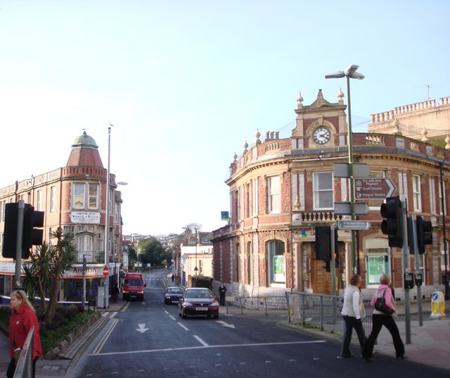 Elegant buildings, main route though Paignton town centre
