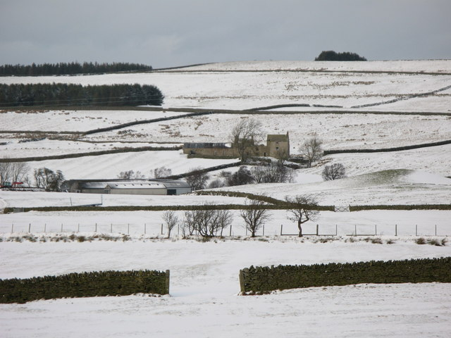 Snowy pastures above Shieldburn Hall