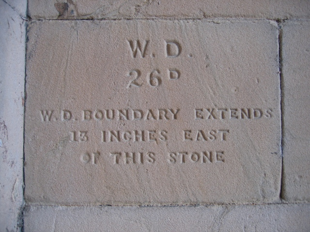 War Department boundary stone at Chester Castle - No 26D