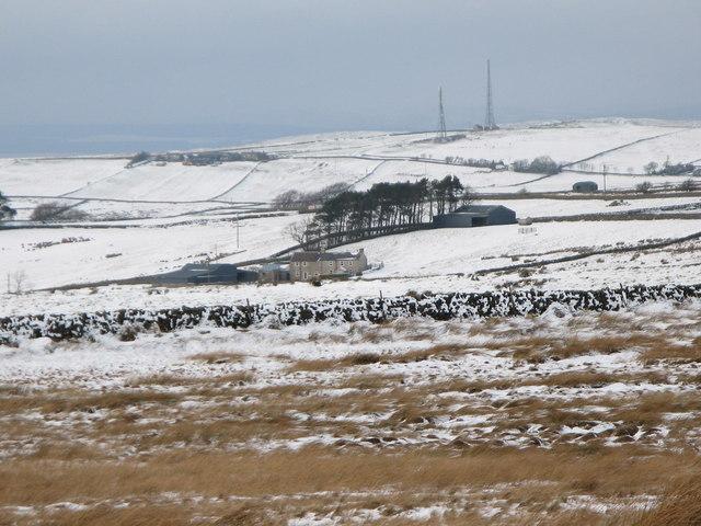 Snowy farmland around Moorhouse Gate