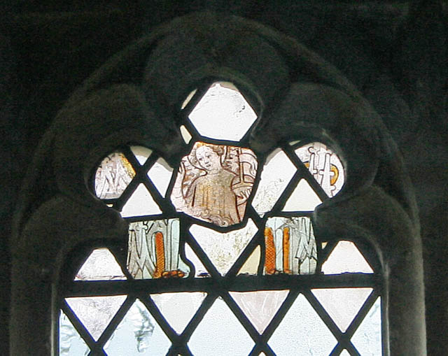 Stained glass fragments in Eastwell church