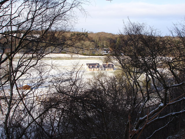 Renovated cottages on flood plain of the River Deveron