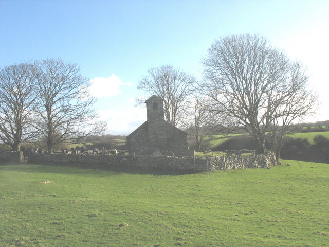 Carnguwch churchyard viewed across the medieval house platform