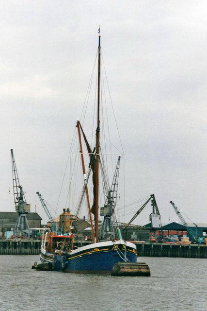 Thames Barge leaving Chatham Dock, Kent