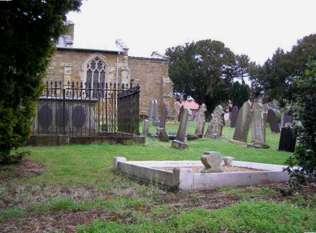 Tilting gravestones in St. Helen's churchyard