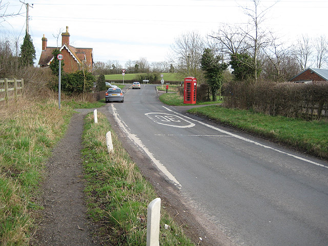 Phone box and postbox on eastern fringe of Tibberton